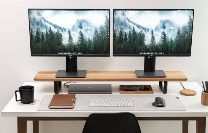 Oakywood Desk Shelf dual monitor stand